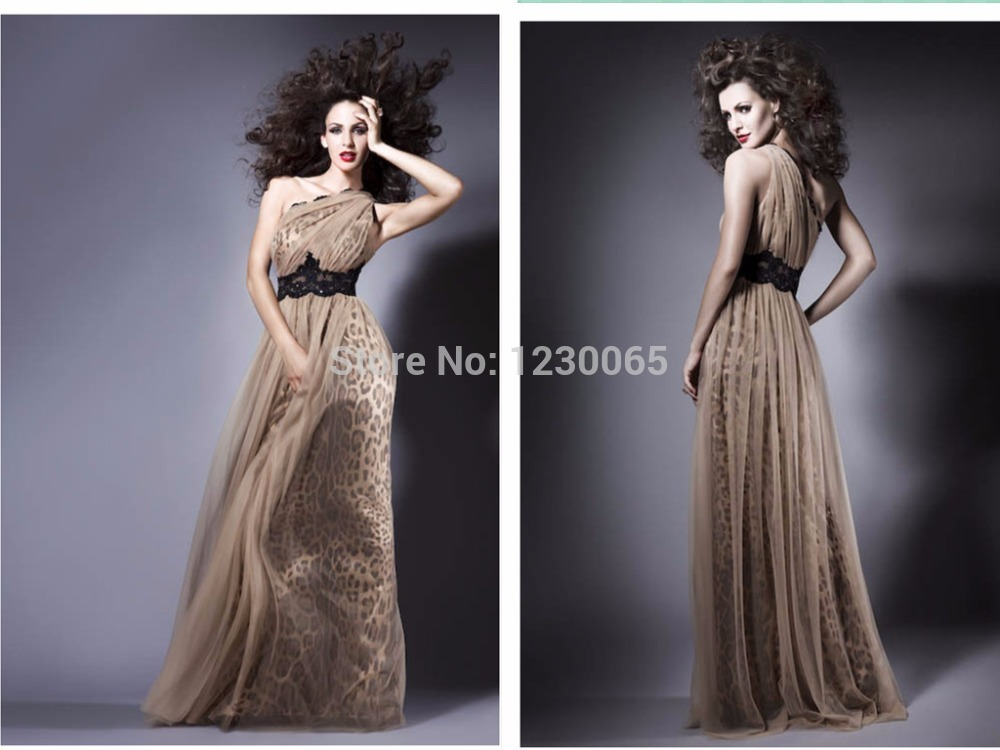 Sexy Leopard 2018 Party Floor-Length Sashes One-Shoulder Sleeveless Natural Formal Evening Prom Gown Mother Of The Bride Dresses