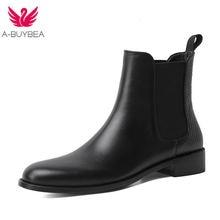 Ботильоны из натуральной кожи для женщин ботинки челси на высоком