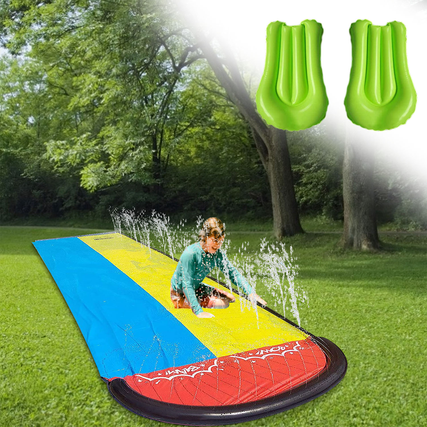 480x140cm Double Lawn Water Slide Fun Giant Surf Water Slide Pools Spray With 2pcs Mat For Kids Outdoor Summer Water Games Toy