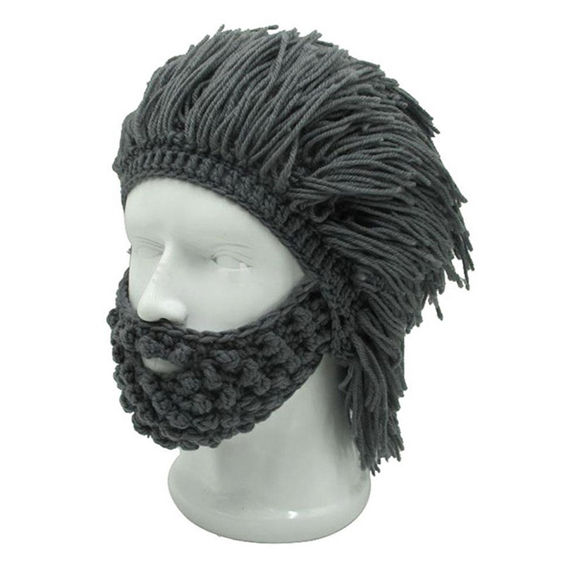 Men Winter Handmade Knitted Crochet Mustache Hat Tassel Bicycle Mask Ski Warm Caps Funny Hat