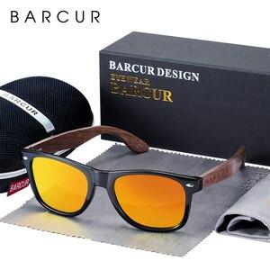 Image 5 - BARCUR wysokiej jakości czarny orzech okulary Anti Reflecti mężczyźni kobiety lustrzane okulary przeciwłoneczne męskie UV400 drewniane okulary odcienie óculos
