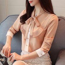 Korean Fashion Women Chiffon Blouses Shirt Pleated Vintage Bow Plus Size Shirts Blusas Mujer De Moda