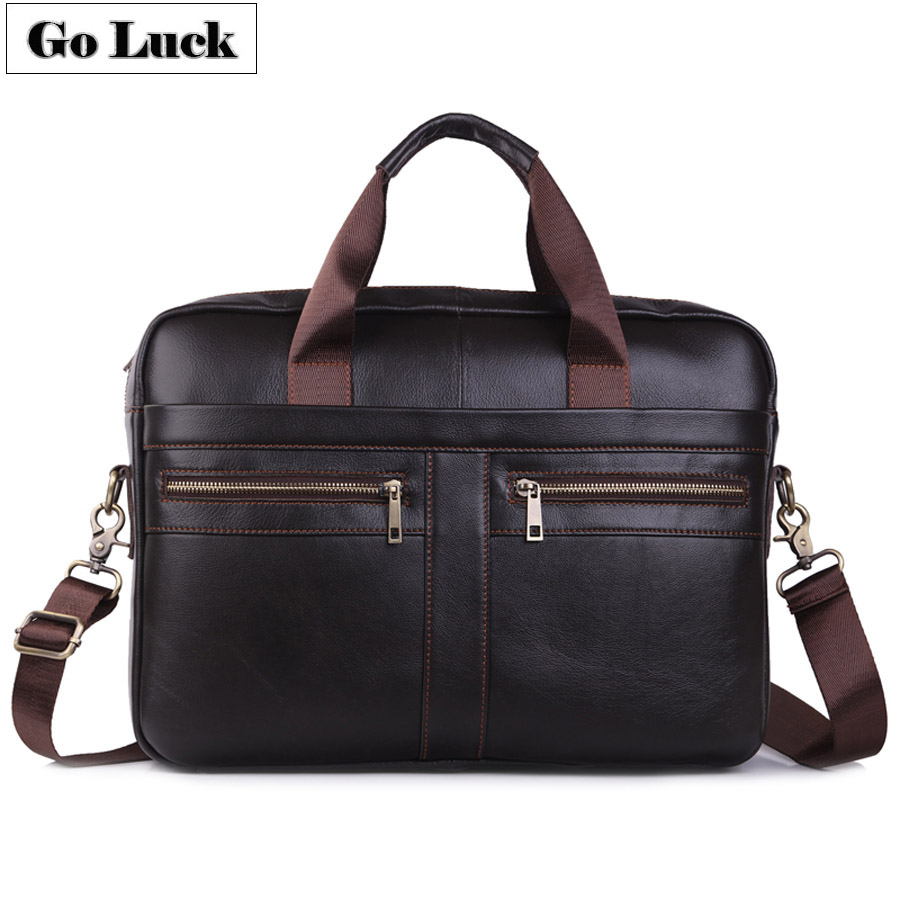 GO LUCK Genuine Leather 15' Top Handle Handbag Business Briefcase Men's Crossbody Shoulder Bag Men Messenger Bags Laptop Pack-in Briefcases from Luggage & Bags