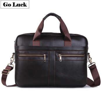 GO-LUCK Genuine Leather 15' Top-Handle Handbag Business Briefcase Men's Crossbody Shoulder Bag Men Messenger Bags Laptop Pack - DISCOUNT ITEM  50% OFF All Category