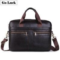 GO LUCK Genuine Leather 15' Top Handle Handbag Business Briefcase Men's Crossbody Shoulder Bag Men Messenger Bags Laptop Pack
