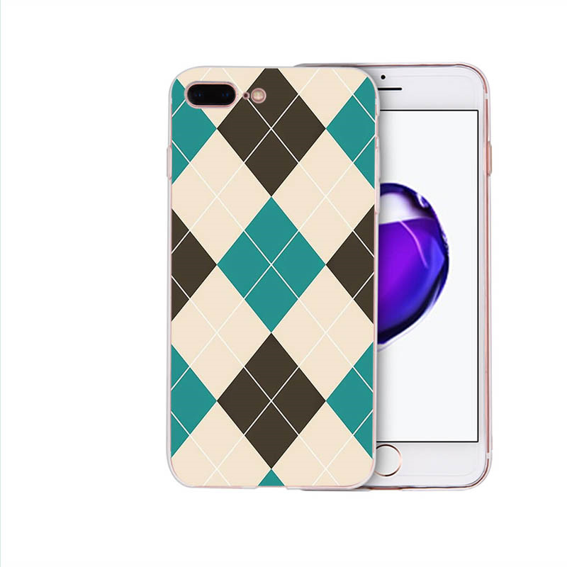 HOUSTMUST Soft phone case for iphone x xr 7 6s 8 6 plus xs max 5 10 se 5s cover Luxury shell Plaid fabric texture pattern design in Half wrapped Cases from Cellphones Telecommunications