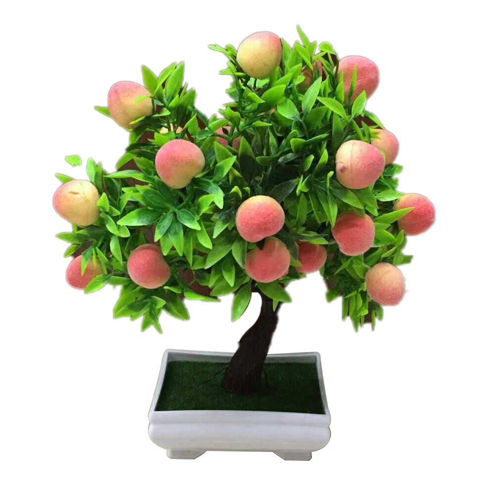 Искусственные растения для домашнего декора, 1 шт., реалистичные персиковые фрукты, искусственные комнатные растения бонсай, настольные укр...