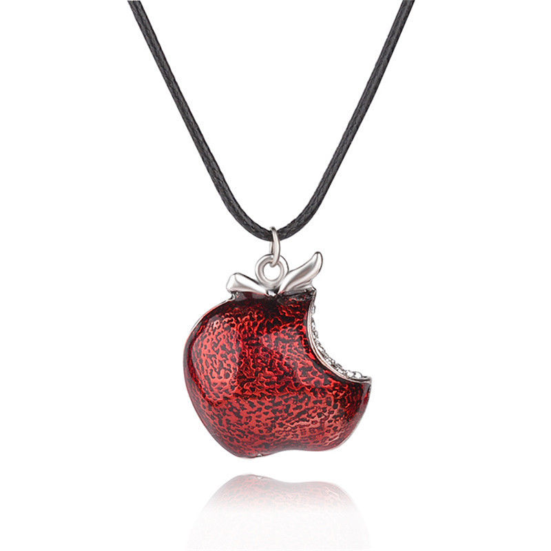 One Bite Red Poison Apple Pendants Necklace Once Upon a Time Necklace Regina Mills Necklace Collar Women Accessories Gifts