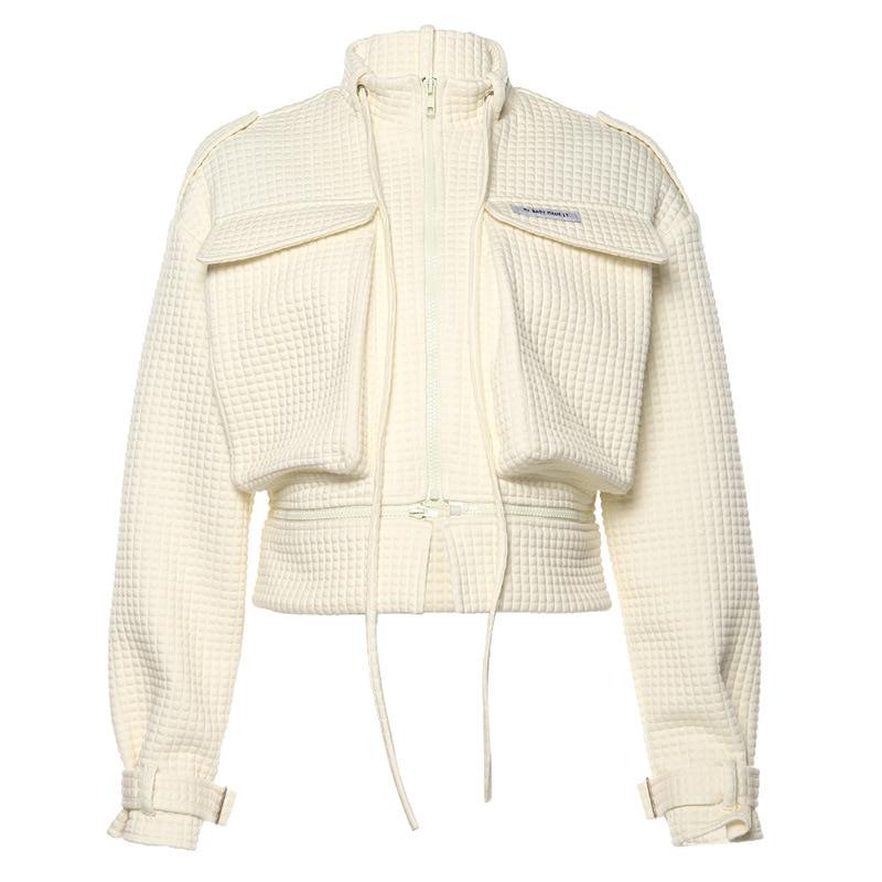 DAYIFUN Streetwear Women Casual Jacket Hip Hop Zipper Coat New Irregular Large Pocket Flare Sleeve Autumn Short Coats L0192