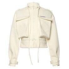 DAYIFUN Streetwear Women Casual Jacket Hip Hop Zipper Coat New Irregular Large P