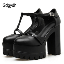 Gdgydh Spring Autumn Ankle Strap Buckle Women Pumps Black Thick High Heeled Shoes Female Single Shoes Shallow Out Soft Leather