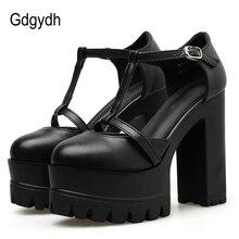 Gdgydh אביב סתיו קרסול רצועת אבזם נשים משאבות שחור עבה עקבים גבוהים נעלי נקבה אחת נעלי רדוד החוצה רך עור