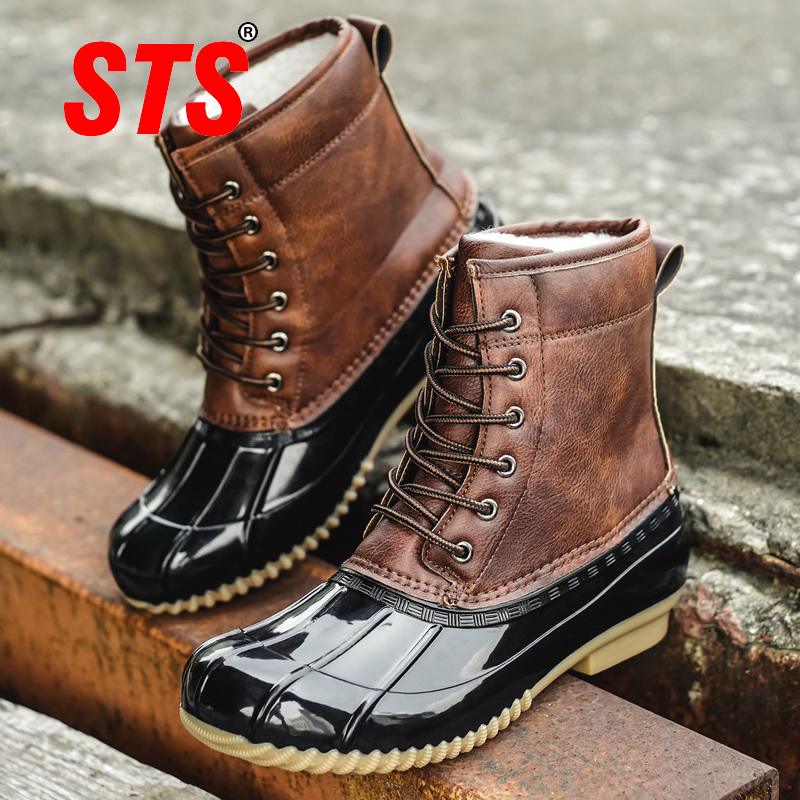 STS Women's Boots Lady Duck Boot With Waterproof Zipper Rubber Sole Women Rain Boots Lace Up Ankle Shoes Fur Winter Women Shoes