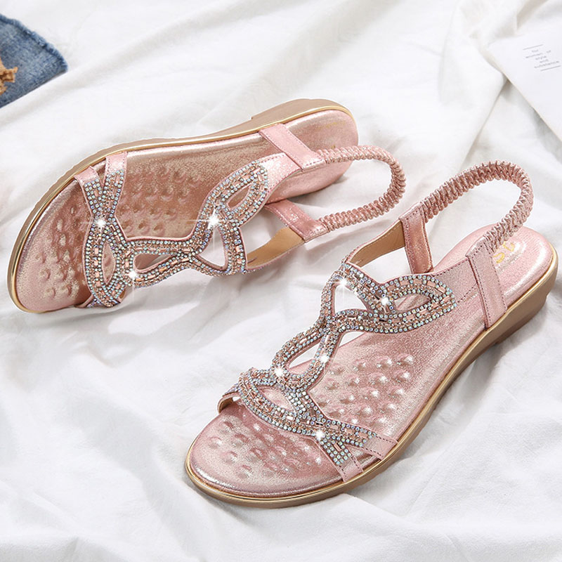 Plus Size 42 Colourtouch Women Flat Sandal Diamond Slippers Gladiator Summer Beach FliP Flops Bling Chains Crystal Mujer
