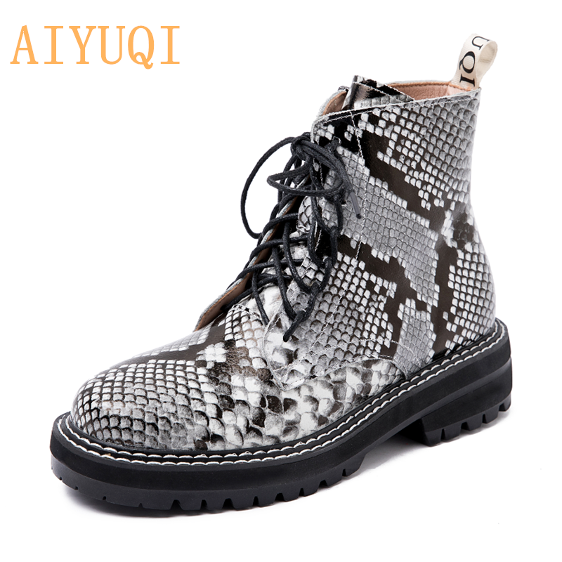 AIYUQI Boots Female women shoes Ankle 2020 Autumn British Wind Genuine Leather Thick With Short Boots Motorcycle Martin shoes 4