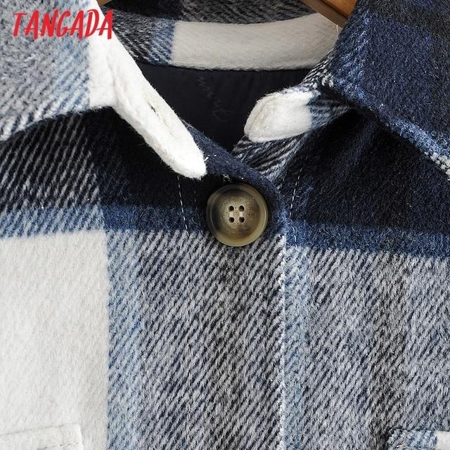 Tangada-veste Long à carreaux vert pour femmes, manteau chaud à la mode, pardessus chaud AI35, 2020, automne hiver, décontracté 3