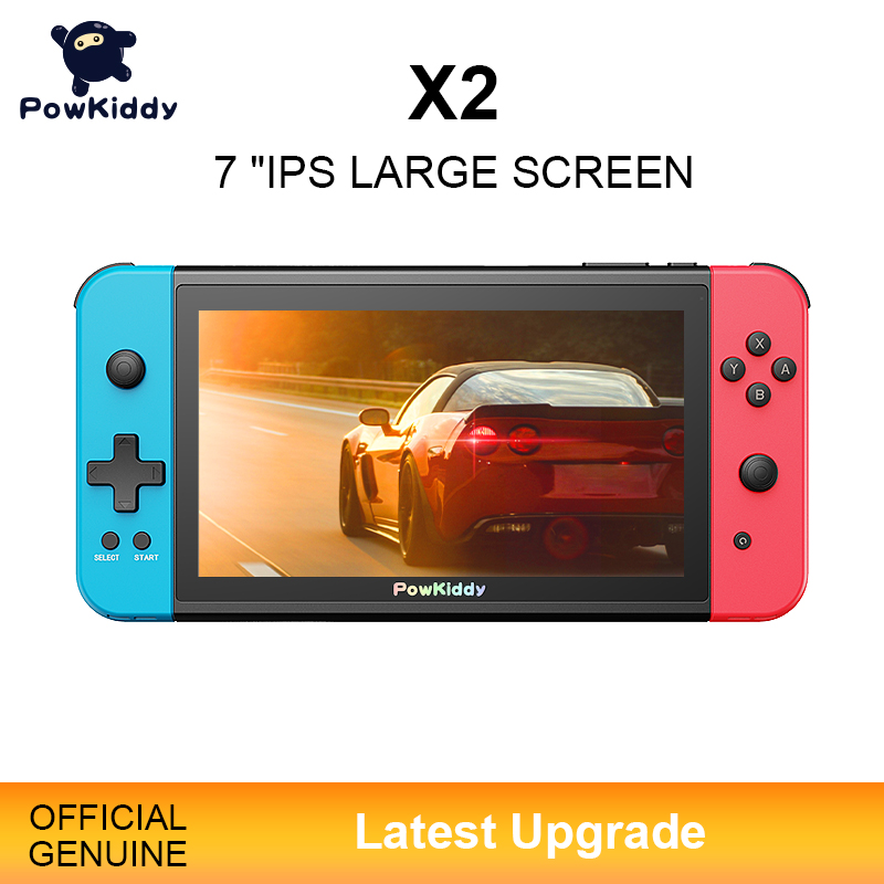 NEW POWKIDDY X2 7 inchIPS Screen Handheld Game Console Built-in 11 Simulator PS1 3D Game Retro Arcade Ultra-thin Console 2500 Games