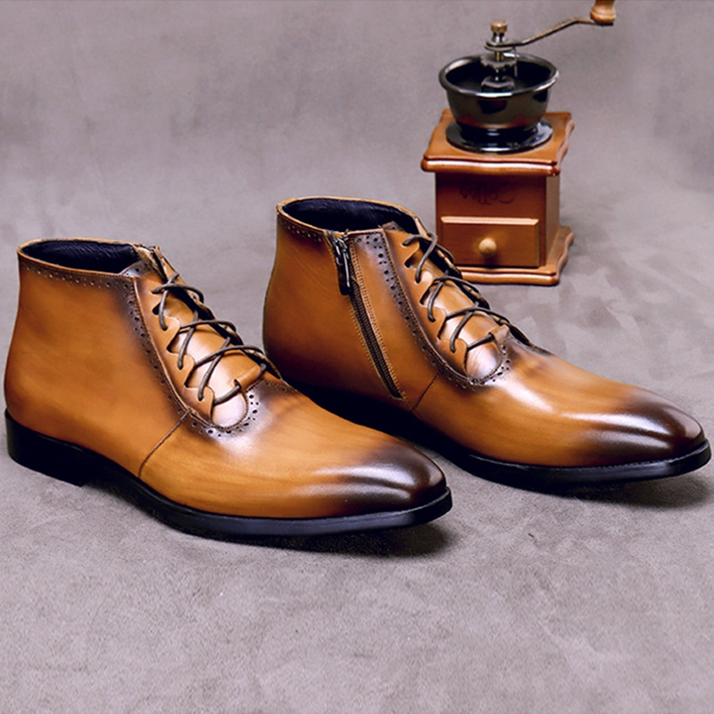 Модные мужские ботильоны на шнурках из натуральной кожи ручной работы; Мужская обувь для верховой езды с высоким берцем на квадратном каблу... - 2