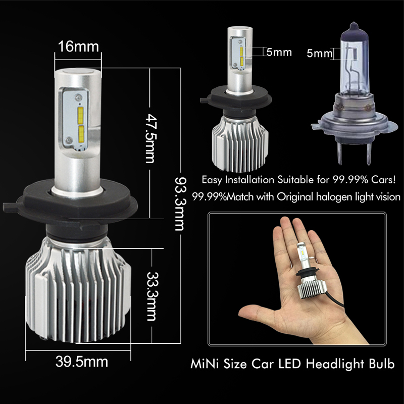 H7 Dipimpin Lampu Mobil Bulb 12 V H4 H8 H9 H11 9005 / HB3 9006 / HB4 - Lampu mobil - Foto 5