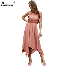 Aimsnug New Female The Dress Ruffled Halter Lace-up Backless Strapless Mid Waist Irregular Hem Elegant 2019 Summer Women's Dress