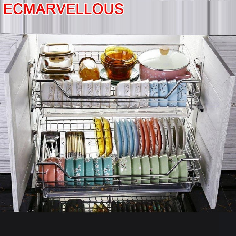 Organizador Almacenaje Armario Platos Mutfak Pantries Stainless Steel Organizer Cuisine Rack Kitchen Cabinet Storage Basket