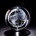 6cm 3d laser gravado terra bola de cristal em miniatura globo esfera vidro paperweight artesanato ornamento decoração para casa estatueta