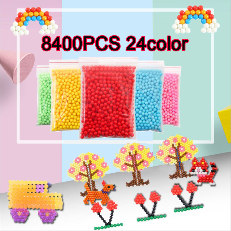 Yantjouet 8400pcs Magic Water Sticky Beads 350pcs/color Children Beads 24colors Crystal Color Puzzle Aqua For Kids Gift Toys