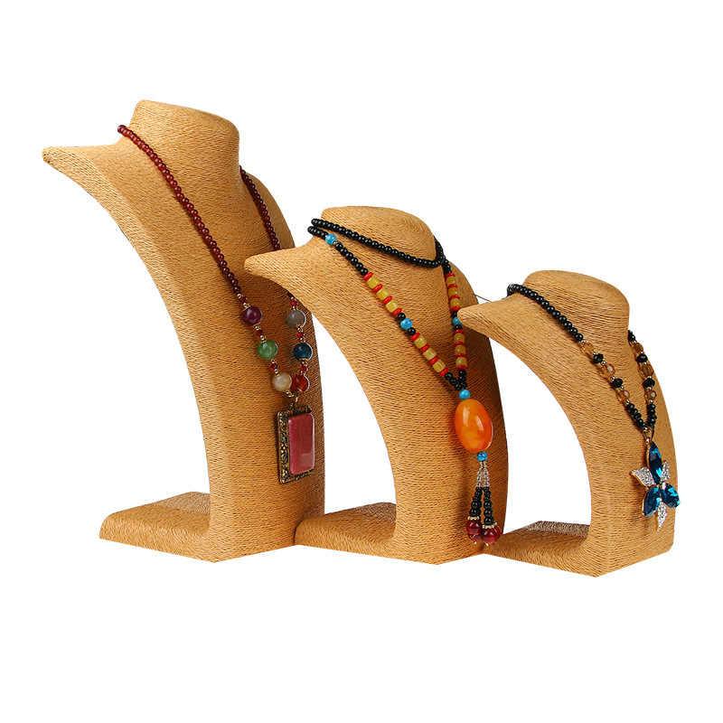 H-0014 القنب حبل PVC الدعامة-رف قلادة عرض موقف حامل المصوغات المعرضة التمثال الجسم شكل الرقبة مجوهرات عرض موقف