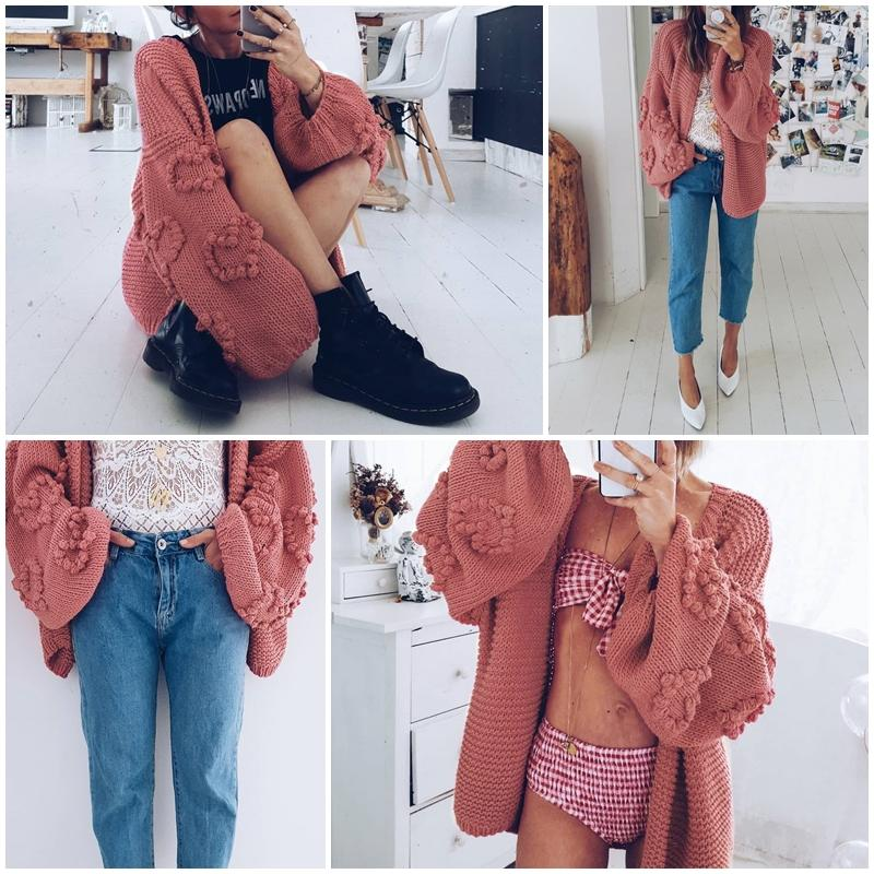 Aartiee Casual Ladies V-collar Long Sleeve Cardigan 2019 Autumn Winter Oversize Lantern Sleeve Elegant Streetwear Knitted New