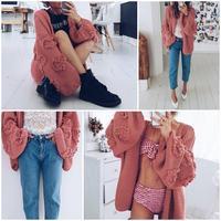 Aartiee Casual ladies V collar long sleeve cardigan 2019 Autumn winter Oversize Lantern sleeve Elegant Streetwear Knitted new