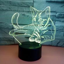 DishyKooker 3D Cat Touch Control USB Charging LED 7 Colors Change Night Light for Home Decoration