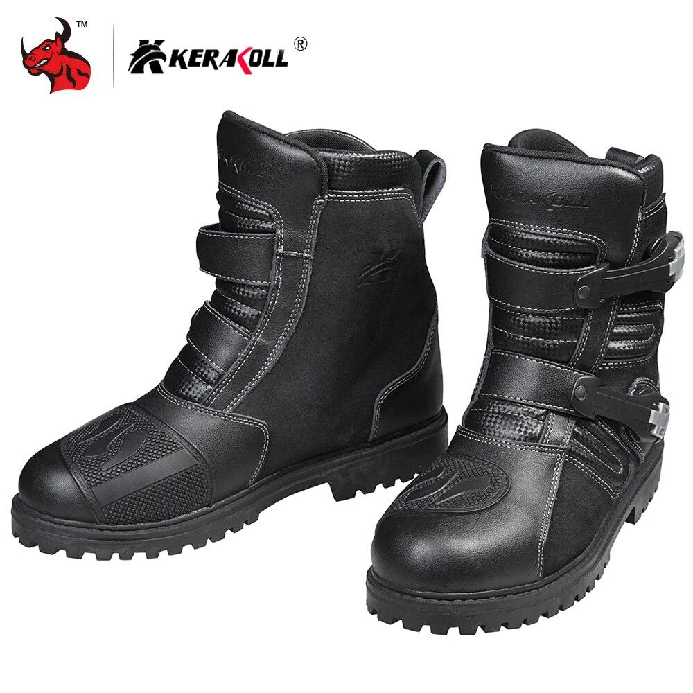 KERAKOLL Motorcycle Boots Genuine Cow Leather Motocross Boots Men Waterproof Moto Boots Motorbike Riding Boots Black Botas Moto
