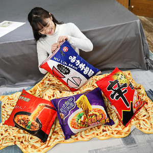 Image 5 - Kawaii Blanket Simulation Instant Noodles Plush Pillow with Blanket Stuffed Beef Fried Noodles Gifts Plush Pillow Food Plush Toy