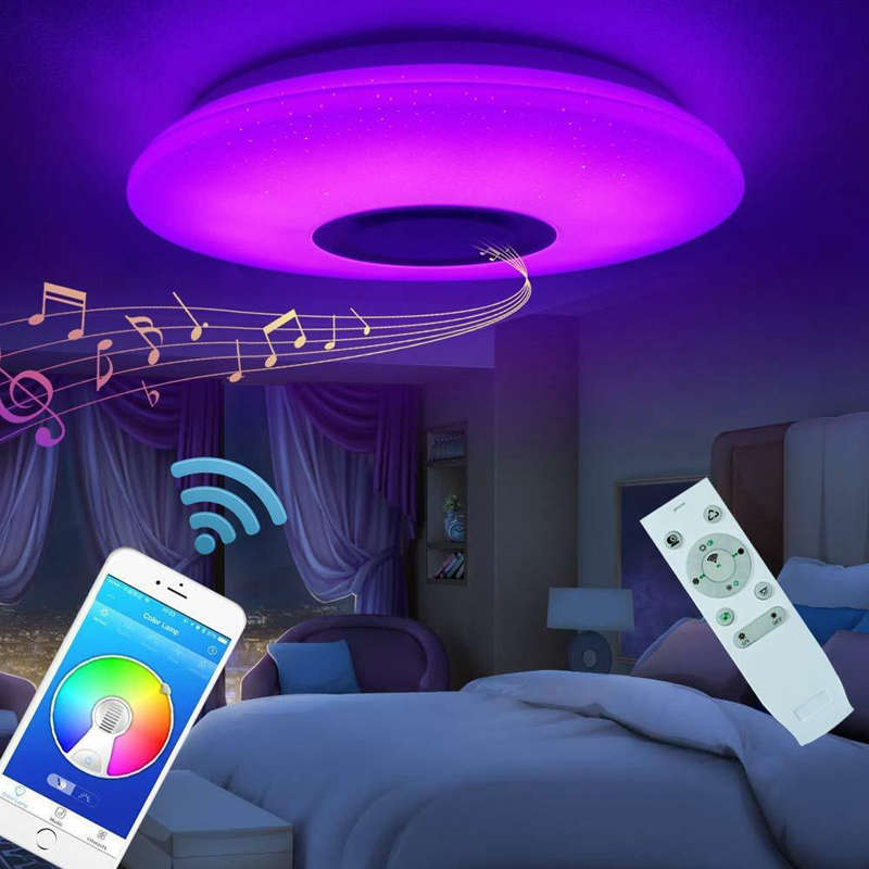 HOT Music Led Ceiling Light Lamp 60W Rgb Flush Mount Round Starlight Music With Bluetooth Speaker Dimmable Color Changing Light image