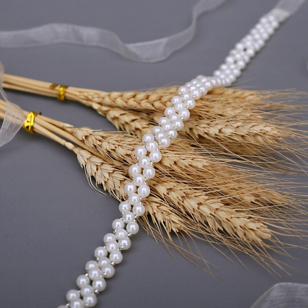 TOPQUEEN Sash for Wedding Dress Ivory Pearl Belt Sash Embellished Belts for Dresses Formal Bridal Jewelry Satin Belt S34-I