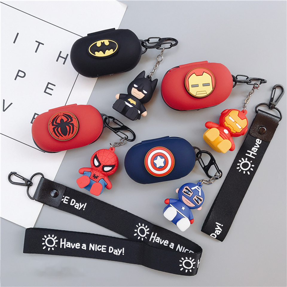 Cool Cartoon Silicon Cover For Samsung Galaxy Buds 2019 Case Wireless Headphone Bag Bluetooth Earphone Skin Charging Box Lanyard