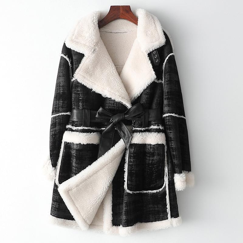 Simple Winter Medium Length Wool Coat with Pockets Sashes Elegant Thick Warm Black Slim Turn Down Collar Women Real Fur Jackets