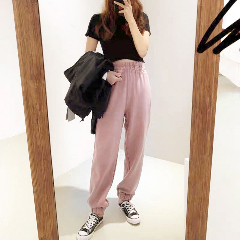 Spring 2020 New Women's Elastic Sports Casual Trousers Pink And Grey Pants