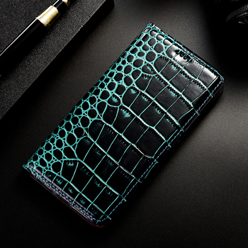 Crocodile Genuine Leather Phone Case For Huawei Y3 Y5 Y5C Y5-2 Y6 Y7 Y9 Lite Prime 2017 2018 2019 Flip Stand cover