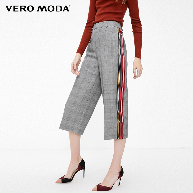 Vero Moda New Arrivals Striped Splice Plaid Wide-leg Casual Capri Pants | 31846J506