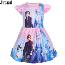Jargazol Kids Dresses for Girls Vestidos Icing Elsa Anna Princess Dress Cute Flying Sleeve Girls Dress Summer Party Costume(China)