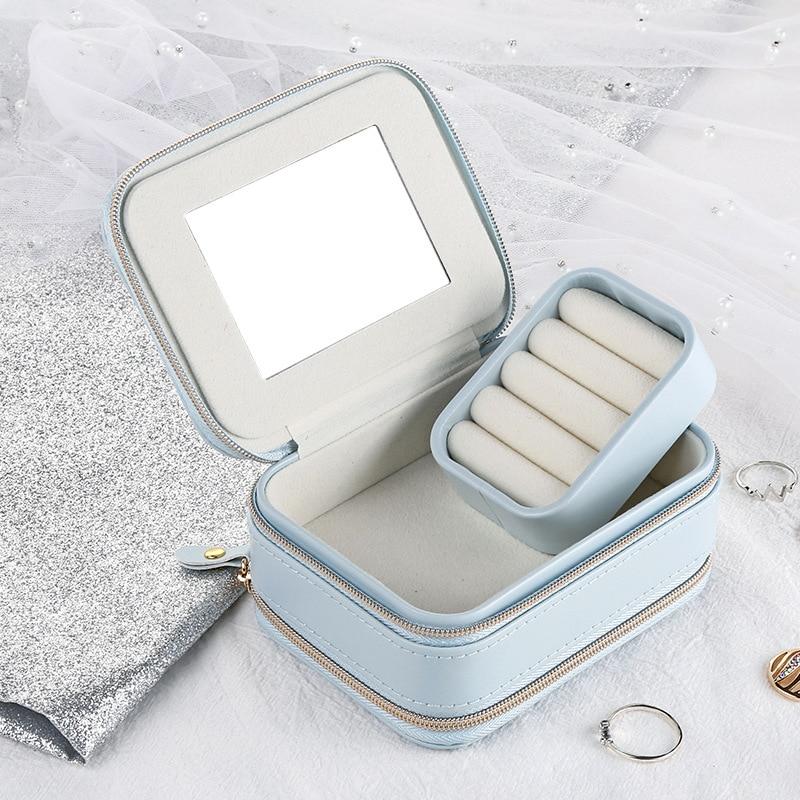 Ailodo Portable Travel Jewelry Box PU Necklace Earrings Rings Jewelry Organizer Fashion Zipper Women Girls Jewelry Box 20JAN03
