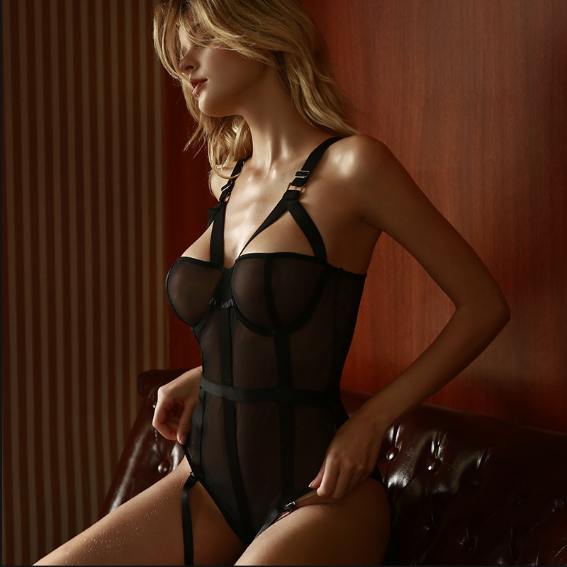 Women's Sheers Sexy Lace Mesh Bodysuit Deep V Neck Crotchless Strappy Jumpsuit Suspenders Plastic Bustier Corset Women Garter