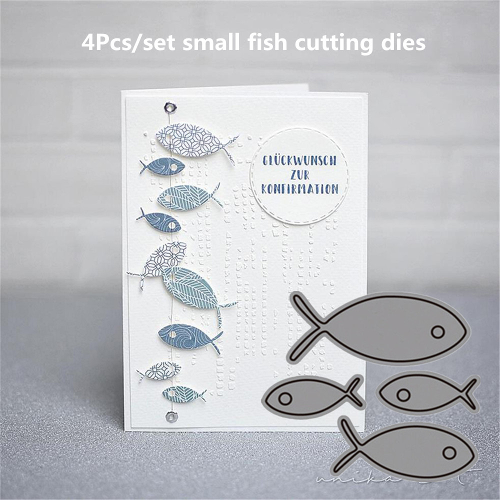 2019 New Super Nice 4 Small Fish Metal Cutting Dies For Scrapbooking New Dies Die Cut Stitch Craft Die Stencil