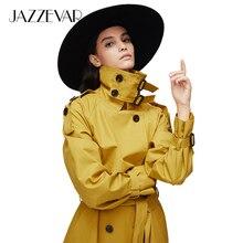 JAZZEVAR Новое поступление осенний серый плащ женский двубортный плиссированный длинный верхняя одежда для леди высокое качество пальто для женщин 9003