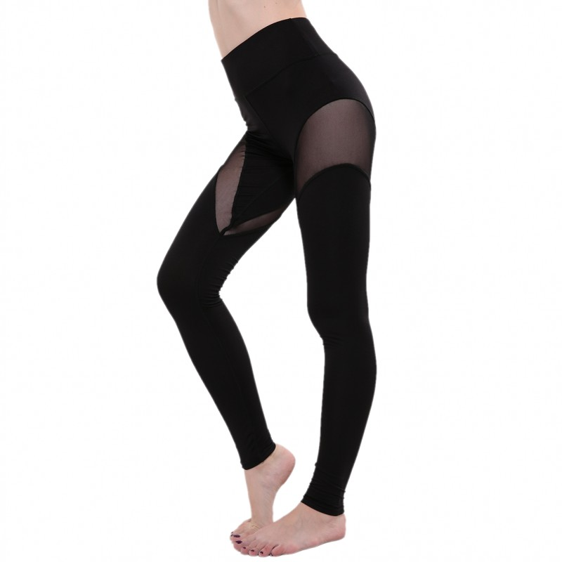 Black Mesh Workout   Leggings   Women Sexy Activewear Push Up Pant Elastic Heart-shaped High Waist Fitness   Leggings