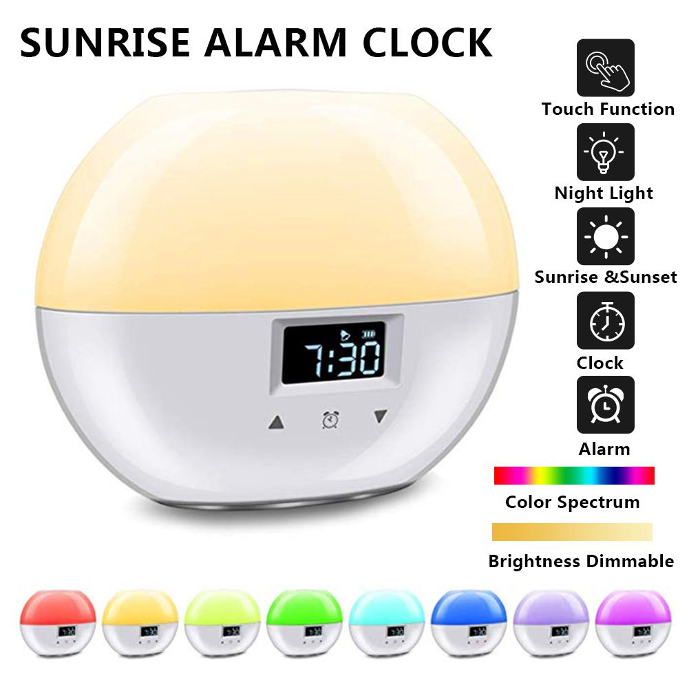 USB Sunrise Alarm Clock Touch Control Wake Up Light Digital Clock With Snooze Function 9 Color Night Lamp