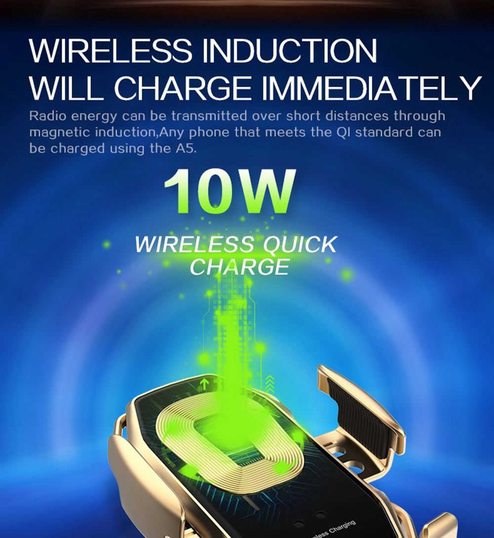 04Two-Point Smart Induction Wireless Charger Car Mount 10W Fast Charge Holder