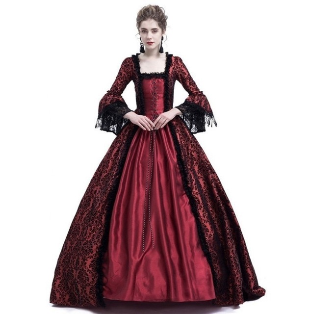 Medieval Palace Princess Dress Vintage Evening Dress For Women <font><b>Halloween</b></font> <font><b>Cosplay</b></font> Costume Long Lace <font><b>Sexy</b></font> Party Plus Size S-5XL image