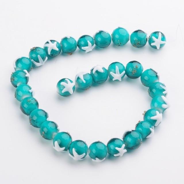 12 pièces/boîte perles au chalumeau faites à la main rondes avec motif étoile de mer bracelet de perles collier bijoux à bricoler soi-même faisant F70